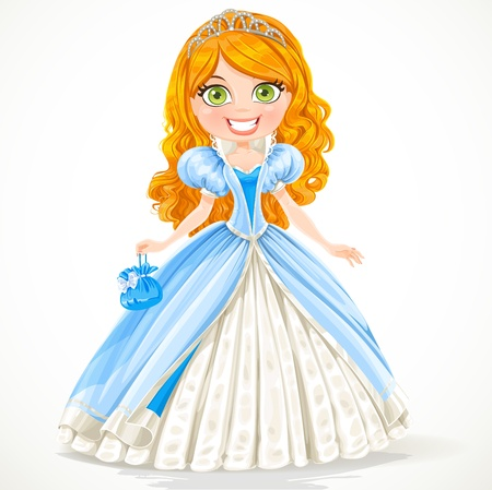 Beautiful red-haired princess in a blue ball gown and tiara Vector