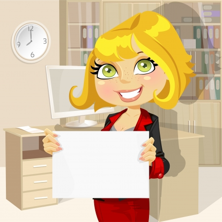 job offers: Business lady in office showing blank banner