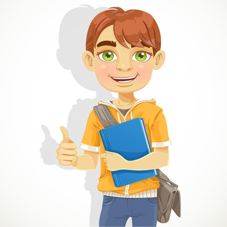 Teenage boy with a textbook isolated on white background Vector