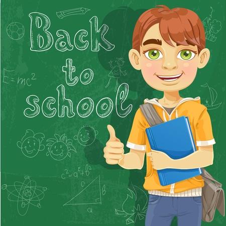 Teenage boy with a textbook near blackboard shows ok Stock Vector - 18429316