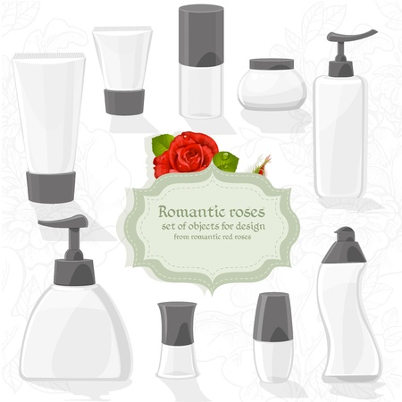 Set cosmetic bottles of different shapes for your design Vector