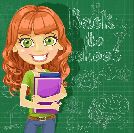 Back to school - cute teenager girl at the blackboard Vector