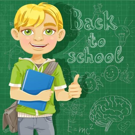 Blond teenage boy near school board Stock Vector - 18499552