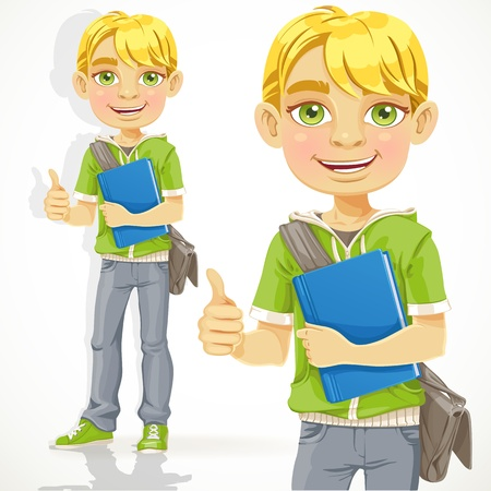 guy standing: Blond teenage boy with a textbook shows ok
