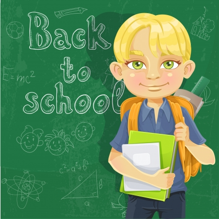 textbooks: Cute schoolboy with textbooks and notebooks backpack near blackboard