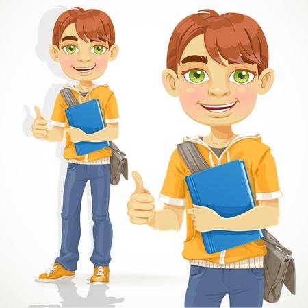 handsome teenage guy: Teenage boy with a textbook shows ok
