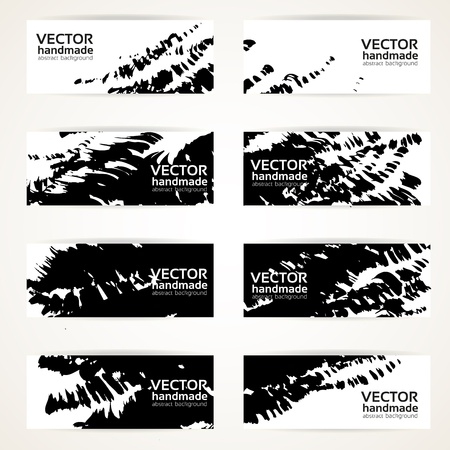 Set of abstract black vector handdrawn by brush banners Vector