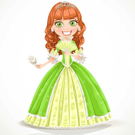 Beautiful princess with brown hair in a green dress with a white rose in her hand Vector
