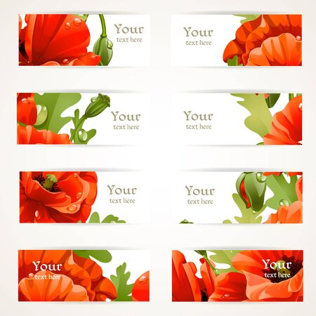 Set of floral banners with fragments of red poppies for your text Vector