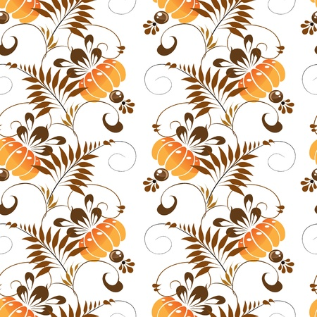 Beautiful seamless pattern of stylized ethnic Petrikov painting orange flowers Stock Vector - 18708698