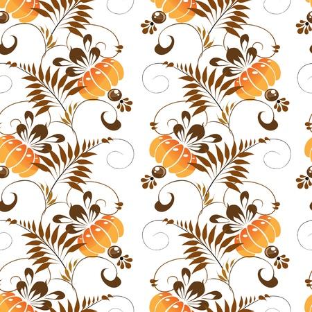 Beautiful seamless pattern of stylized ethnic Petrikov painting orange flowers Stock Vector - 18708698