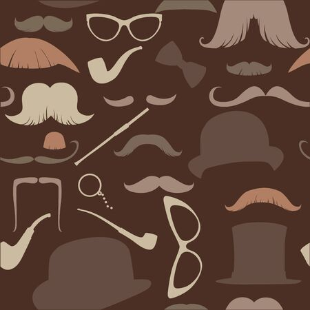 mustached: Art Deco seamless pattern in retro style, illustration warm brown range