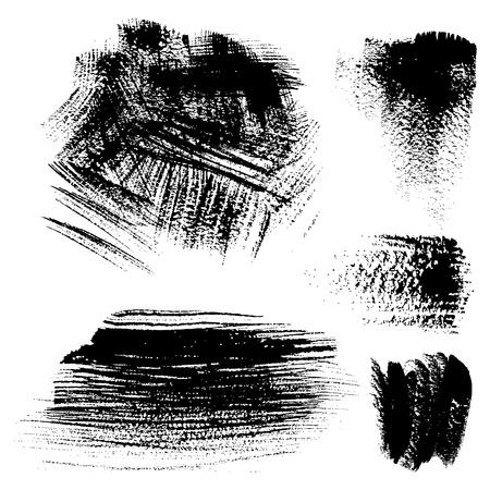 dry brush: Black textured brush strokes on white background