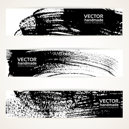 sumi: Abstract black and white brush texture handdrawing banner set. Illustration