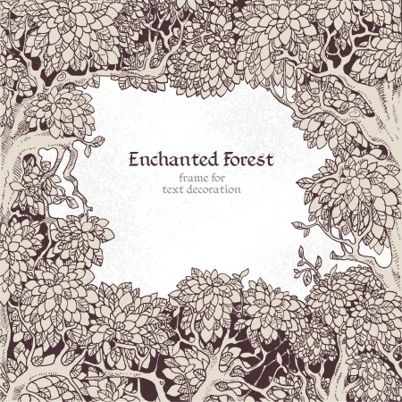 enchanted forest: Frame for text decoration Enchanted Forest