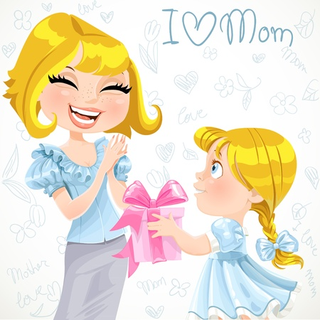 Daughter gives mom a gift for Mother s Day  on doodle background Vector