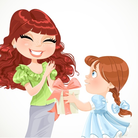Daughter gives mom a gift for Mother s Day Vector