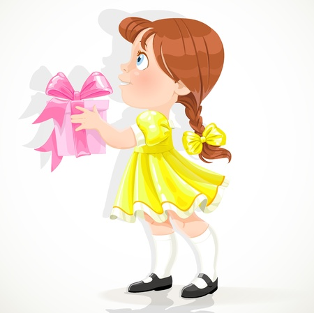 giving gift: little girl in a yellow dress gives a gift Illustration