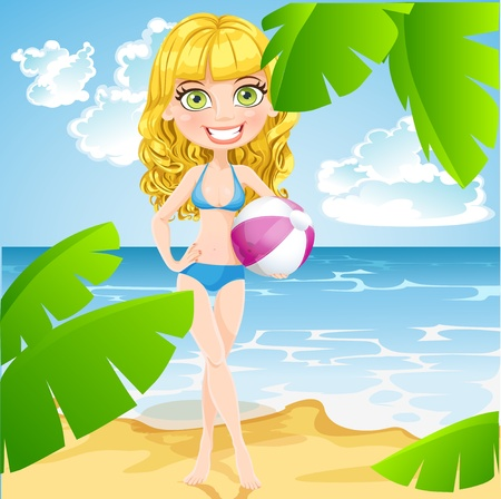Playful girl in bathing suits with inflatable ball on sunny beach Vector
