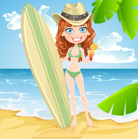 girls bathing: ute girl with a glass of juice and a surfboard on a sunny beach Illustration