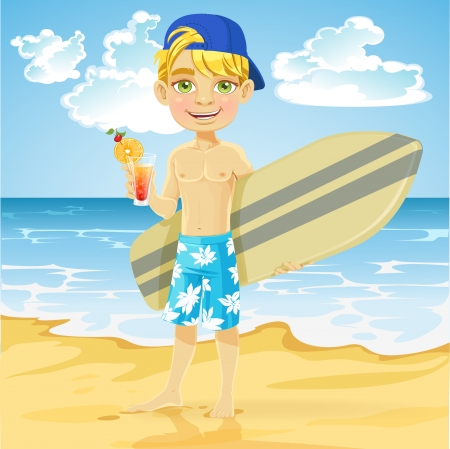 Cute teen boy with a drink in a glass and a surfboard on a sunny beach Vector