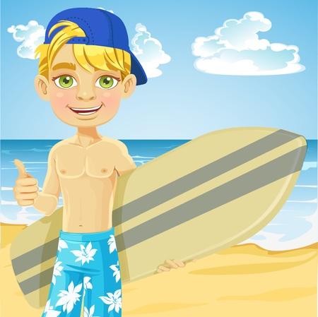 teenagers having fun: Cute teen boy with a surfboard on a sunny beach Illustration