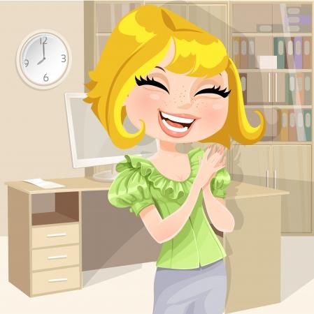 Een mooi meisje op het werk op kantoor gelukkig klappen Stock Illustratie