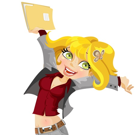 joyfully: Cute girl joyfully swings the folder with papers Illustration