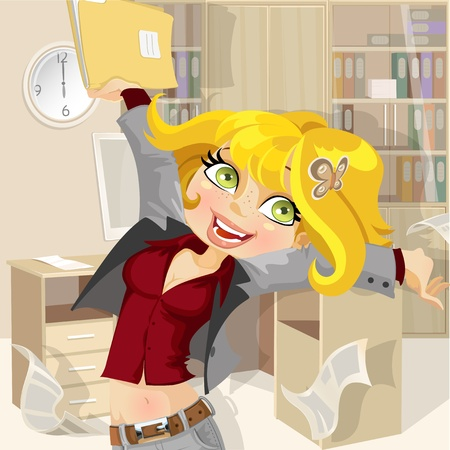 Cute girl at the end of the working day gathers home Vector