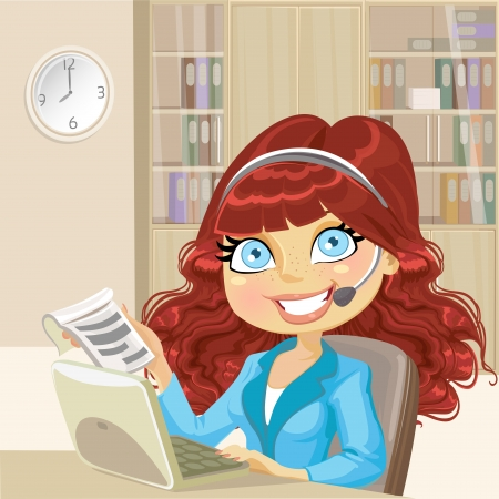 woman at the phone: Cute girl in office takes your orders over the phone and internet