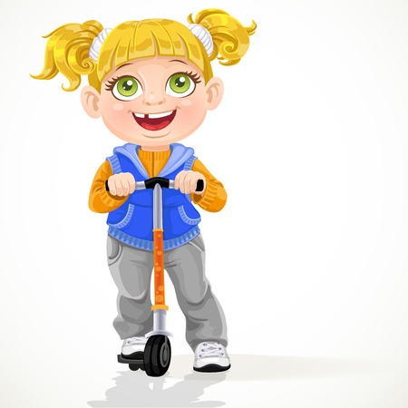 pigtails: Little girl with pigtails on scooter isolated on a white background