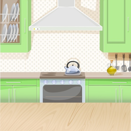 countertop: Interior of kitchen with stove and cupboards