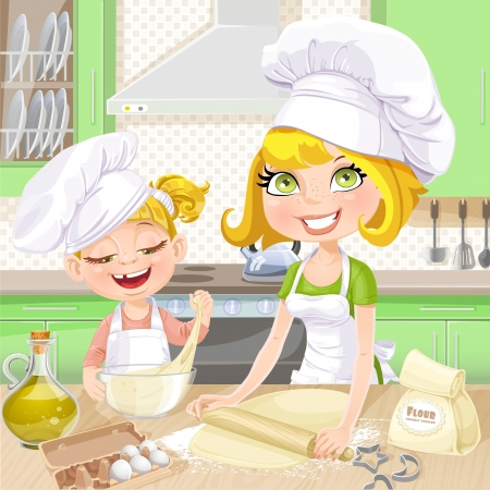 Mom and daughter baking cookies in the kitchen Vector