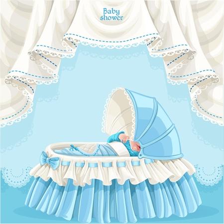 invitacion baby shower: Tarjeta de Baby Shower azul con lindo bebé en la cuna