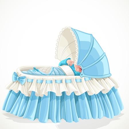 Bébé dans le berceau bleu isolé sur fond blanc