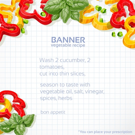 peppers: Big vector paper into the cell banner with sweet peppers and basil for your recipe Illustration