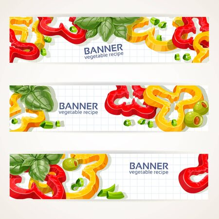 Vector horizontal banners with sweet peppers and basil Stock Vector - 19569867