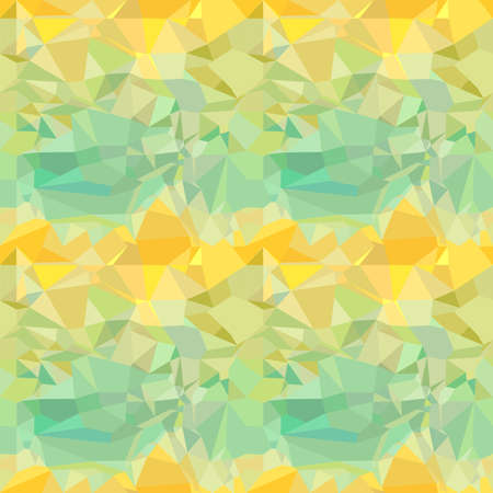 Seamless green and yellow ornament from vector drawing crumpled paper Vector