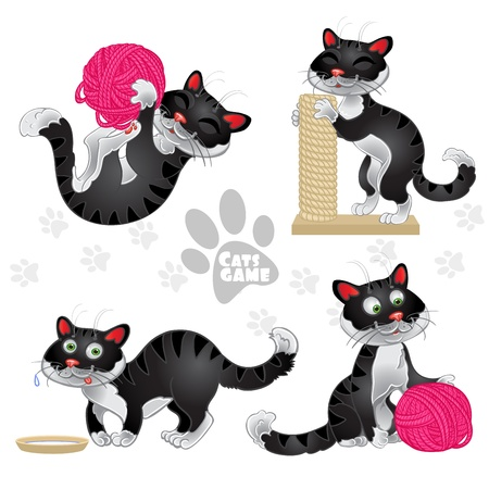 Playful funny black cats in different situations isolated on white background Vector