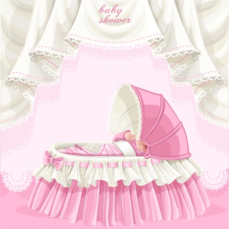 baby girl: Pink baby shower card with cute little baby in the crib