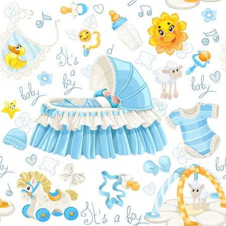 rammelaar: Naadloos patroon van kribben, speelgoed en spullen het is een jongen