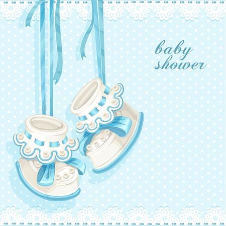 Baby-Dusche-Karte mit blauen Booties und Spitze Vektorgrafik