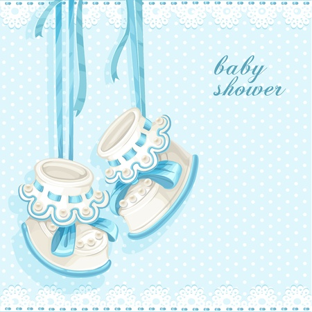 playfulness: Baby shower card with blue booties and lace