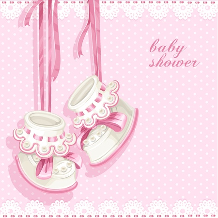 hanging girl: Baby shower card with pink booties and lace