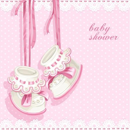 invitacion baby shower: Tarjeta de la ducha de beb� con botines rosas y encajes
