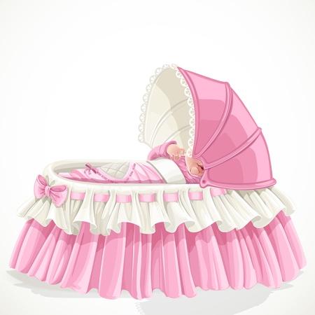 Bébé dans le berceau rose isolé sur fond blanc