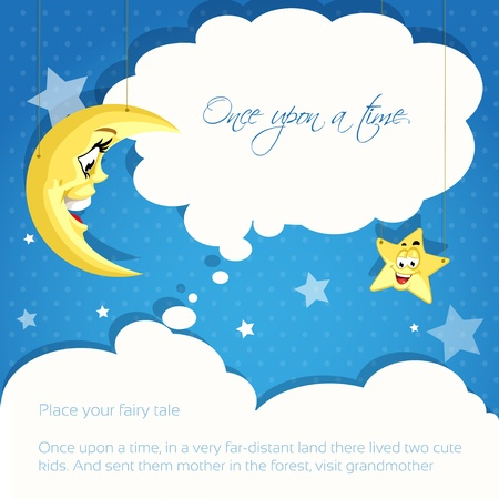 sleeping beauty: Card with moon and stars background for your tales Illustration