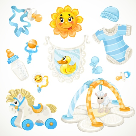 baby s: Set of blue baby toys objects clothes and things Illustration