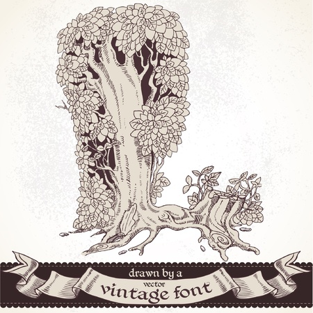 l hand: magic forest hand drawn by a vintage font - L