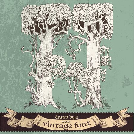 magic grunge forest hand drawn by a vintage font - H Vector